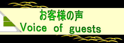 お客様の声 Voice of guests